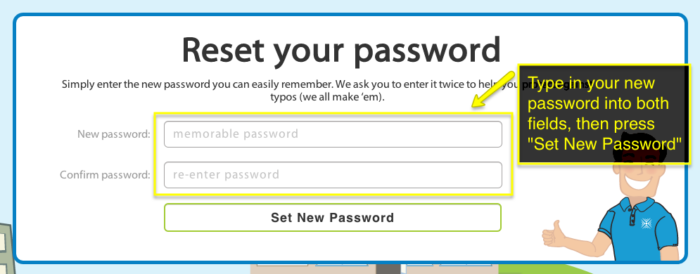 Enter your new password and submit.